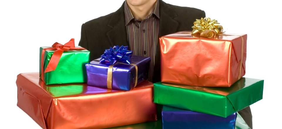 man holding presents